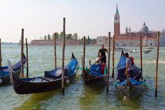 Venice. Italy. Italy.Venice.The Canals Of Venice.Gondola floating in the channel Stock Photos