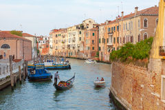 Venice. Italy. Italy.Venice.The Canals Of Venice.Gondola floating in the channel Stock Image