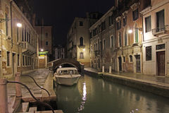 Venice, Italy. Canals at night. Night view of canals in Venice Royalty Free Stock Photos