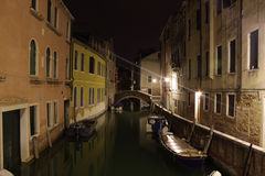 Venice, Italy. Canals at night. Night view of canals in Venice Stock Photos