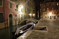 Venice, Italy. Canals at night. Night view of canals in Venice Stock Photo