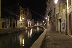 Venice, Italy. Canals at night Stock Images