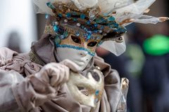 Venice, Italy, Carnival of Venice, beautiful mask at Piazza San Marco royalty free stock photo