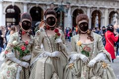 Venice, Italy, Carnival of Venice, beautiful mask at Piazza San Marco stock photography