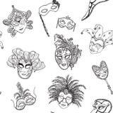 Venice Italy carnival masks seamless pattern. Hand drawn sketch Italian Venetian festival. Doodle Drawing background. Venice Italy carnival masks seamless Royalty Free Stock Photography