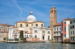 Venice / Italy: Church of San Jeremiah on the Grand Canal. Sightseeing in Venice The Church of San Jeremiah is located on the Grand Canal Stock Photos