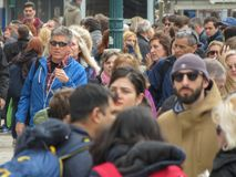 A crowd of people. VENICE, ITALY - CIRCA MARCH 2018: a crowd of people in the city centre Royalty Free Stock Images