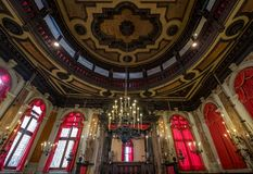 Close up view of the interior of the historic Spanish Synagogue Schola Spagniola, Cannaregio, Venice. royalty free stock photo