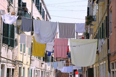 Venice Italy clothes hanging in the street called Calle in itali Stock Image