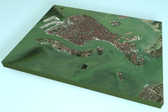 Venice, Italy, 3d map section, satellite view Royalty Free Stock Images