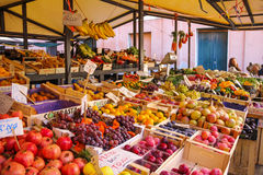 Venice Italy december 2014 Various vegetables in the morning at Rialto market Royalty Free Stock Images