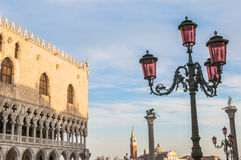 Venice, Italy. Doge's Palace and Basilica di San Giorgio Maggior Royalty Free Stock Photo