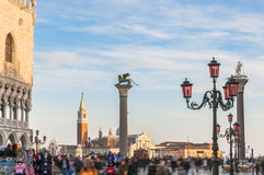Venice, Italy. Doge's Palace and Basilica di San Giorgio Maggior Royalty Free Stock Photography
