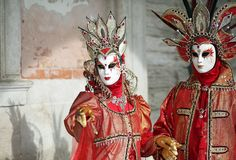 Venice, Italy - February 5, 2018: woman and man with fantastic r Royalty Free Stock Photo