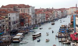 Venice, Italy - February 5, 2018: aerial view of Grand Canal wit Stock Photos