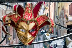 Mask of clown at Venice carnival 2018 stock photo