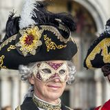 Venice, Italy - February 5 2018 - The Masks of carnival 2018. The Carnival of Venice Italian: Carnevale di Venezia is an annual festival held in Venice, Italy Royalty Free Stock Photos