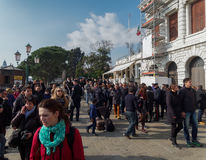 Venice, Italy - February 2017: Police security control for Venice Carnival. Royalty Free Stock Photo