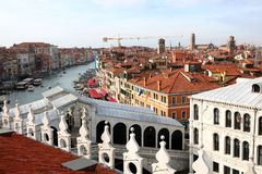 Venice, Italy - February 5, 2018: Rialto Bridge and many houses Royalty Free Stock Image