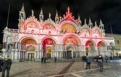 Saint Mark`s Basilica at night in Venice Stock Photos
