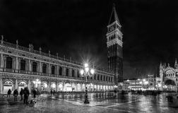 Saint Mark`s campanileat night in Venice Stock Photos
