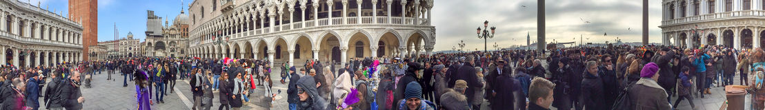 VENICE, ITALY - FEBRUARY 2015: Tourists in St Mark Square, panor Royalty Free Stock Photos