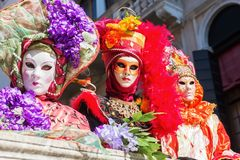 Disguised people at the Carnival of Venice. Venice, Italy - February 26, 2017: unidentified disguised people at the Carnival of Venice. The Carnival of Venice is Royalty Free Stock Images