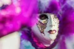Disguised woman at the Carnival of Venice Stock Photos