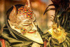 VENICE, ITALY - FEBRUARY 8, 2015: Unidentified masked couple in Royalty Free Stock Image