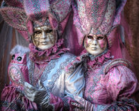 VENICE, ITALY - FEBRUARY 8: Unidentified people in Venetian mask Stock Image