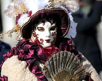 Venice, Italy - February 5, 2018: person with Handmade carnival royalty free stock photo