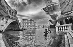 Venice, Italy. Fisheye view of Rialto Bridge on a cloudy day Royalty Free Stock Photography