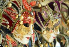 Venice Italy golden carnival mask during festivities Stock Images