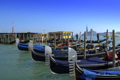 Gondolas waiting for tourists,Venice Royalty Free Stock Photo