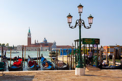 Venice.Italy. Gondola at the pier in Venice at Piazza San Marco Stock Images