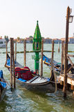 Venice.Italy. Gondola at the pier in Venice at Piazza San Marco Royalty Free Stock Photography