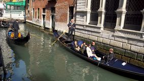 Venice, Italy - 14.03.2019: gondola with tourists in the narrow canals of Venice.  stock video footage