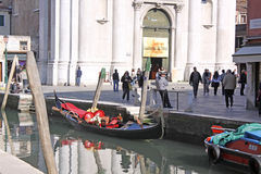 Venice, Italy. Gondolas. The gondola is a traditional, flat-bottomed Venetian rowing boat, well suited to the conditions of the Venetian lagoon. The rowing oar Stock Photo