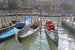 Venice, Italy. Gondolas. The gondola is a traditional, flat-bottomed Venetian rowing boat, well suited to the conditions of the Venetian lagoon. The rowing oar Stock Images