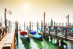 Venice, Italy. Gondolas on Grand canal in Venice, Italy Stock Photo