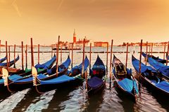 Venice, Italy. Gondolas on Grand Canal at sunset Royalty Free Stock Photos