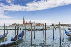 Venice in Italy , Gondolas and Lido Island Royalty Free Stock Photography
