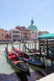 Venice, Italy. Gondolas moored in the Grand Canal with San Simeone Piccolo behind them Royalty Free Stock Image