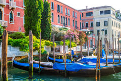 Venice, Italy - gondolas moored at pier on water canal Royalty Free Stock Image