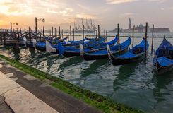 Venice,italy. Gondolas at morning stock photo