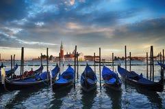 Venice, Italy. Gondolas and San Giorgio Maggiore Island, Venice, Italy stock photo