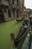 VENICE/ITALY 2  Gondolas on a side canal Royalty Free Stock Images
