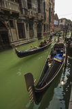 VENICE/ITALY   Gondolas on a side canal Stock Image