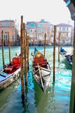 Venice, Italy. Gondoles waiting for people to drive Royalty Free Stock Photo