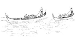 Venice. Italy. The gondoliers floats on a gondolas. Venice. Italy. The gondoliers floats on a gondola with tourists. Vector black & white sketch Royalty Free Stock Photography